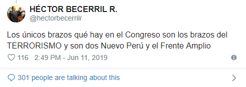 Captura del tweet de Héctor Becerril.
