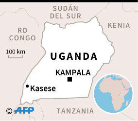 Mapa de Uganda localizando Kasese, donde un niño de 5 años contrajo el virus de Ébola. (AFP)
