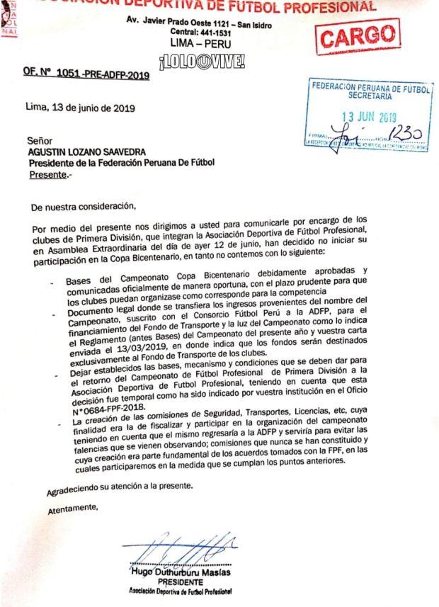 Carta de la ADFP a la FPF sobre la Copa Bicentenario.