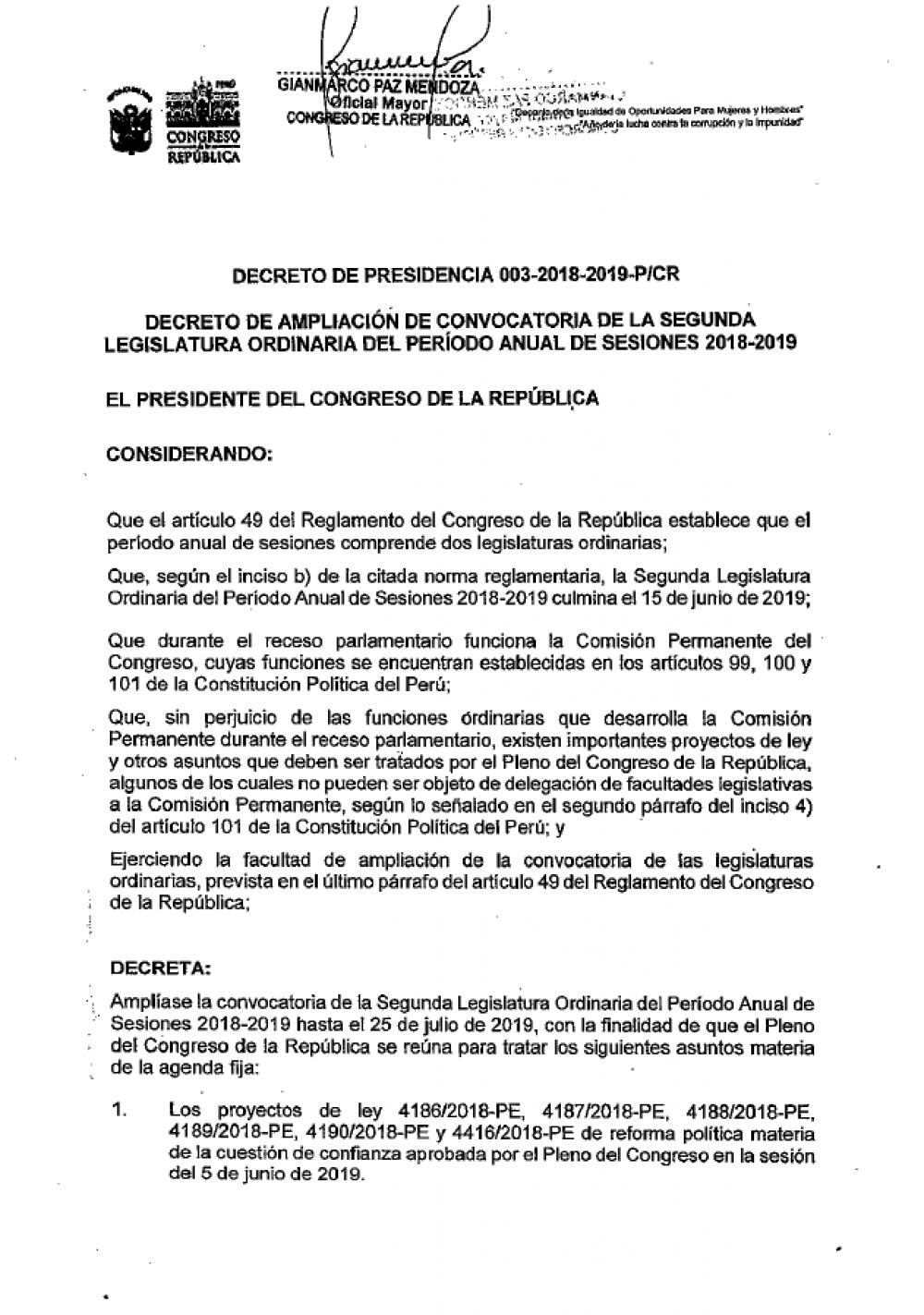 La presidencia del Congreso anunció la ampliación de la legislatura. (Foto: Difusión)