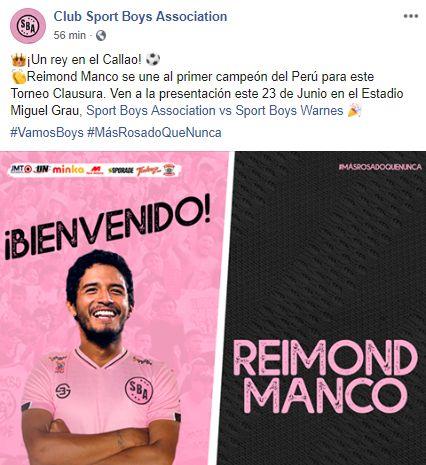 Reimond Manco fue anunciado como nuevo jugador de Sport Boys.