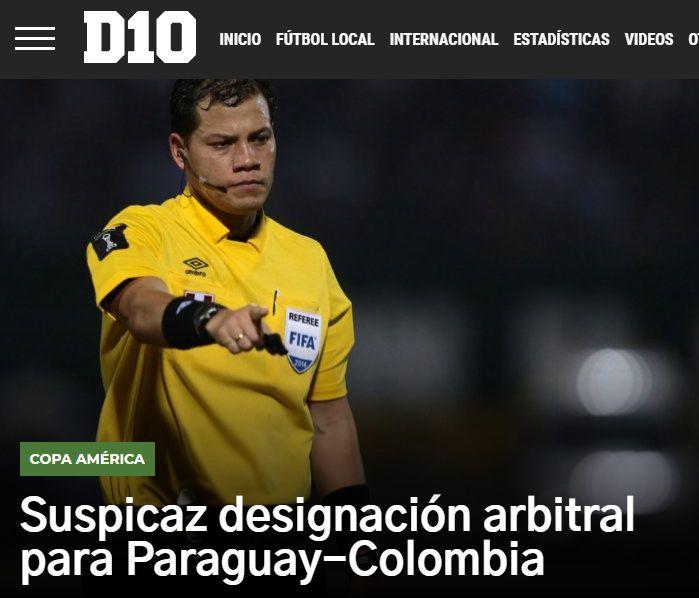 Así titula D10 sobre la designación del árbitro del Colombia vs. Paraguay.