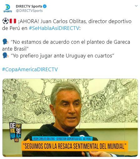 Las frases que dejó Juan Carlos Oblitas en entrevista con DirecTV Sports.