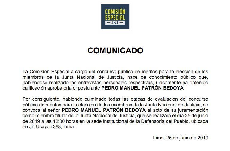 Comunicado final de la Comisión Especial de la JNJ.