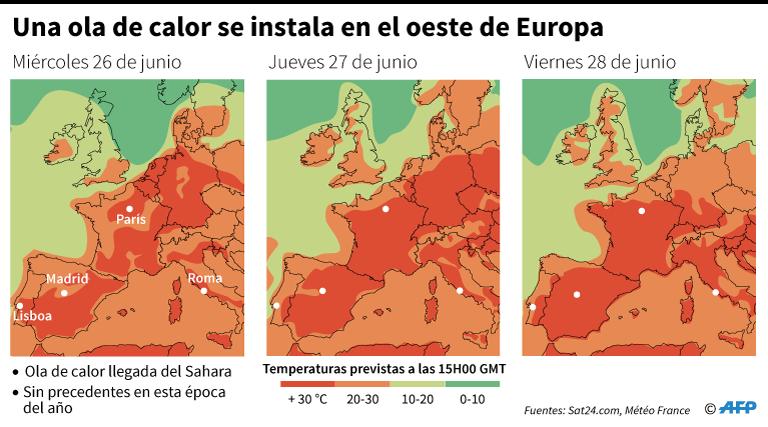 Temperaturas previstas en Europa occidental a las 15:00 horas del miércoles 26 al viernes 28 de junio. (AFP)