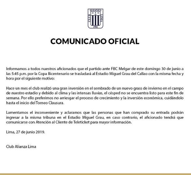Comunicado de Alianza Lima sobre su localía para la Copa Bicentenario.