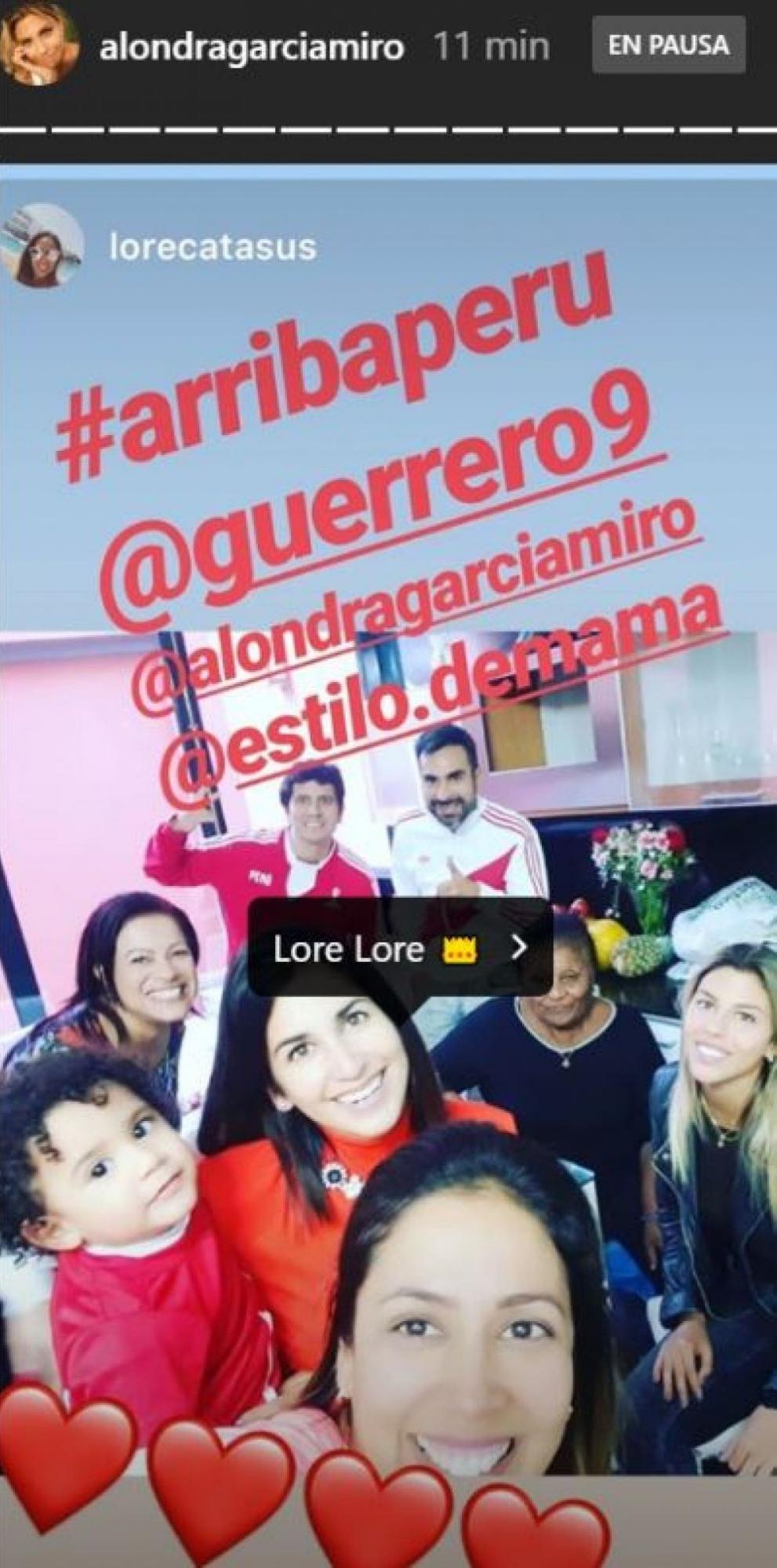 Alondra García Miró celebró la victoria de Perú en Copa América junto a la familia de Paolo Guerrero. (Foto: Captura de video)