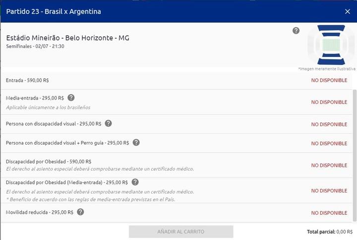 Las entradas para el Brasil vs. Argentina por semifinales de la Copa América están agotadas.
