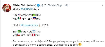 Las probabilidades de Mister Chip para las semifinales de Copa América y Copa Oro.