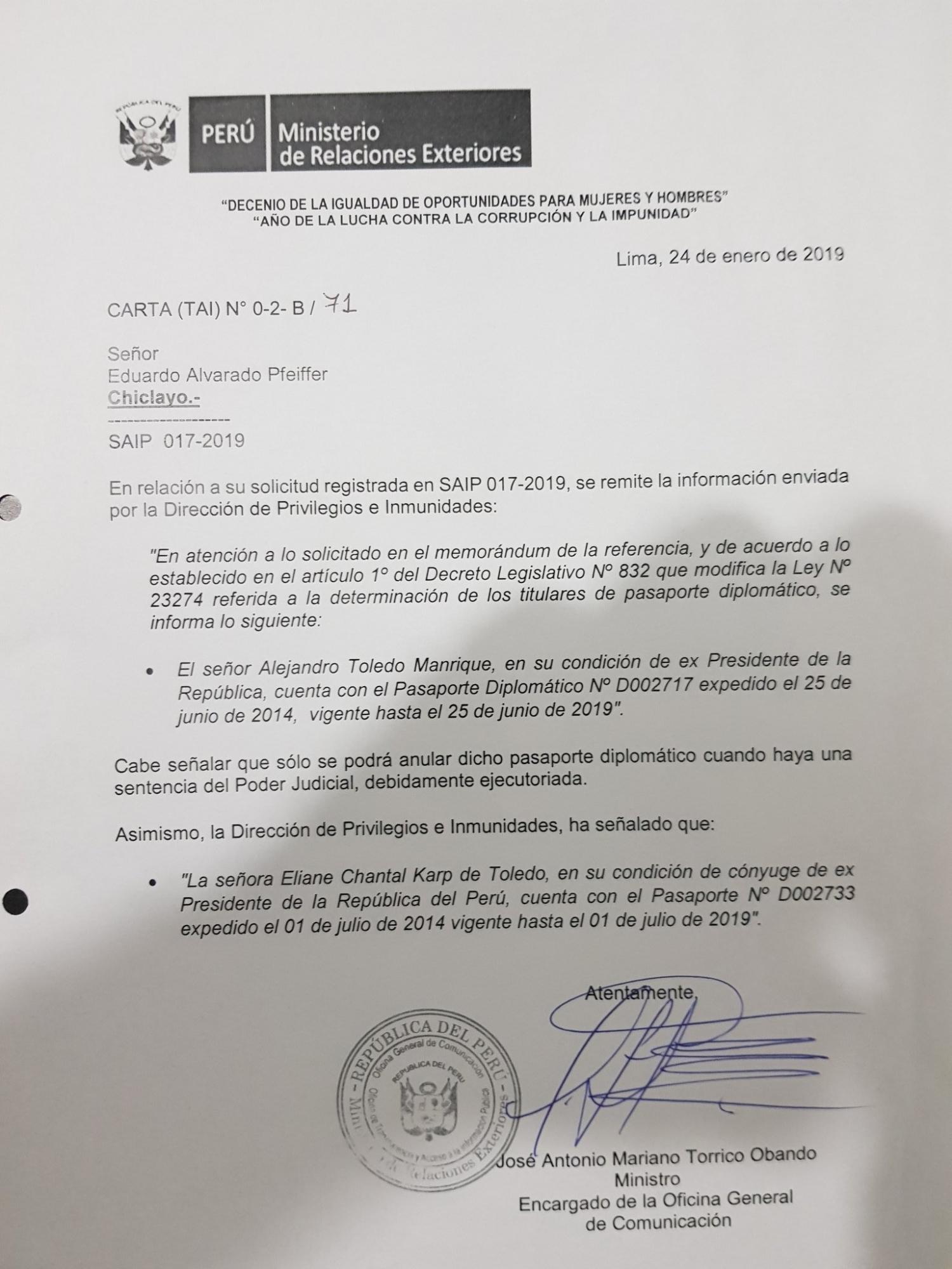 Documento del Ministerio de Relaciones Exteriores.