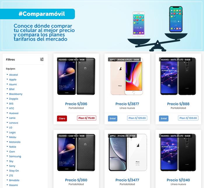 Vista de la página web Comparamóvil. (Foto: Osiptel)