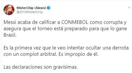 La respuesta de Mister Chip sobre las declaraciones de Lionel Messi.