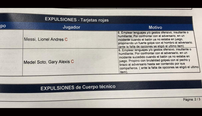 El informe del árbitro por las expulsiones de Lionel Messi y Gary Medel. (Foto: Twitter @ManuOlivari)