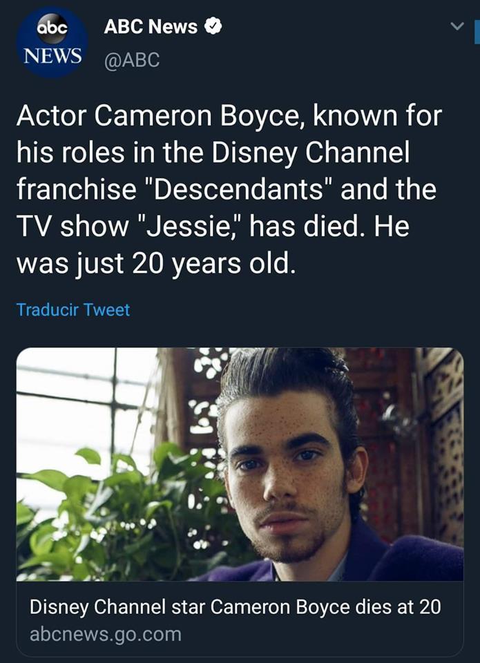 Cameron Boyce fallece a los 20 años. (Captura de pantalla)