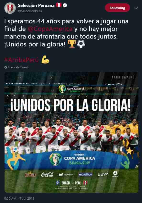 La selección peruana se motiva para la final de la Copa América con mensaje en Twitter. (Foto: AFP)