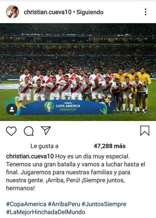 El mensaje de Christian Cueva en Instagram, previo a la final de Copa América.