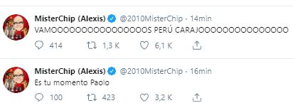 El festejo de Mister Chip tras el gol de Paolo Guerrero.