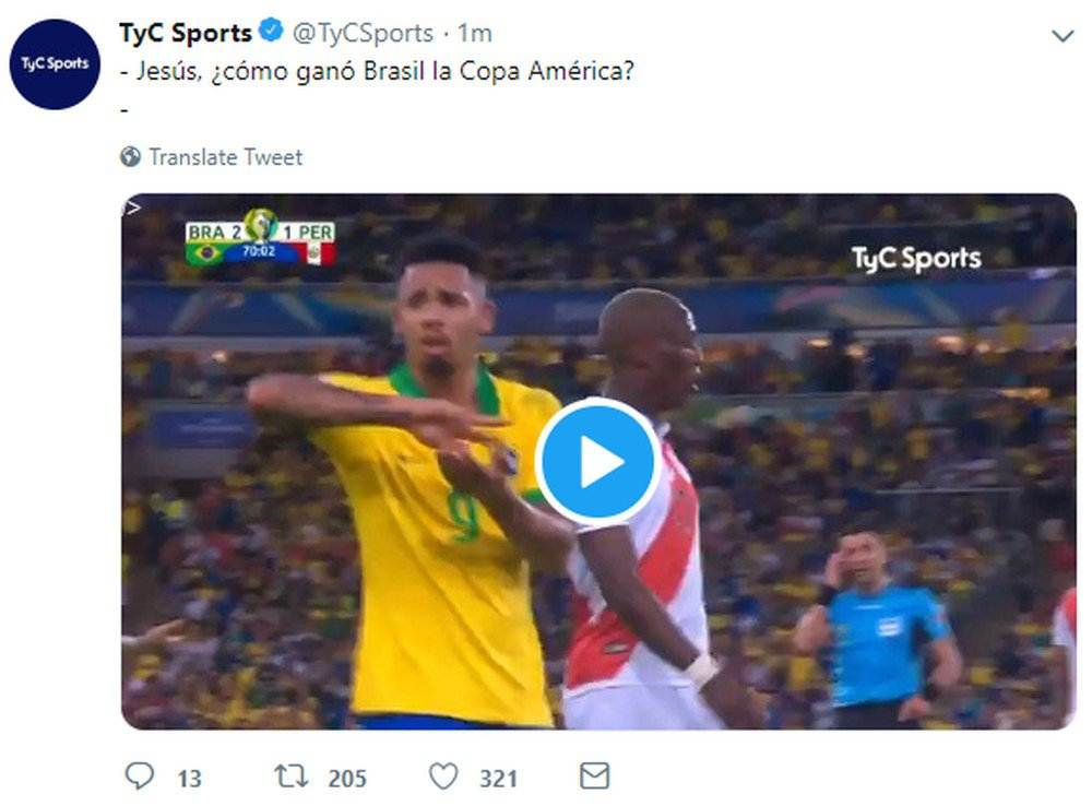 El mensaje de TyC Sports tras la final de la Copa América. (Foto: Captura)