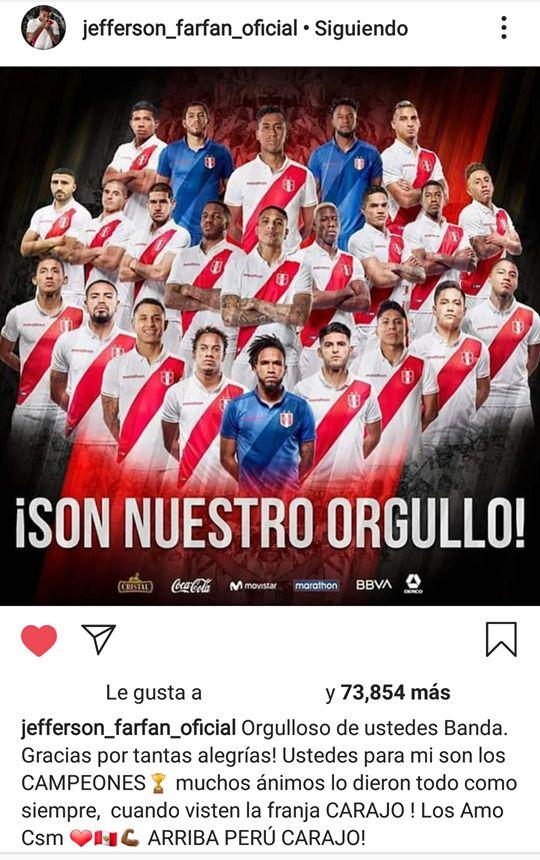 El mensaje de Jefferson Farfán a sus compañeros tras la final. (Foto: Instagram)