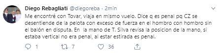 La explicación del árbitro Roberto Tobar sobre jugada de penal de Carlos Zambrano.