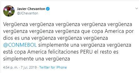 El furioso tuit de Javier Chevantón tras la final de la Copa América.