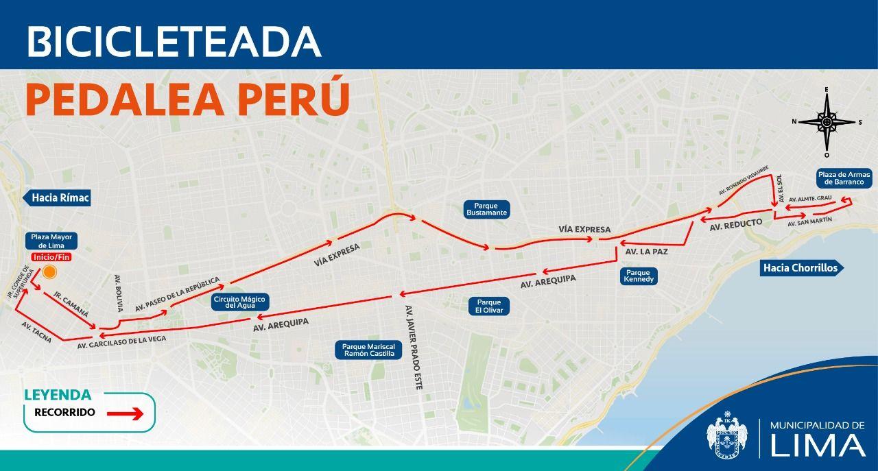 Esta es la ruta por la que se desplazarán los ciclistas durante la bicicleteada. (Municipalidad de Lima)
