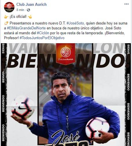 El anuncio oficial de la llegada de José Soto a Juan Aurich.