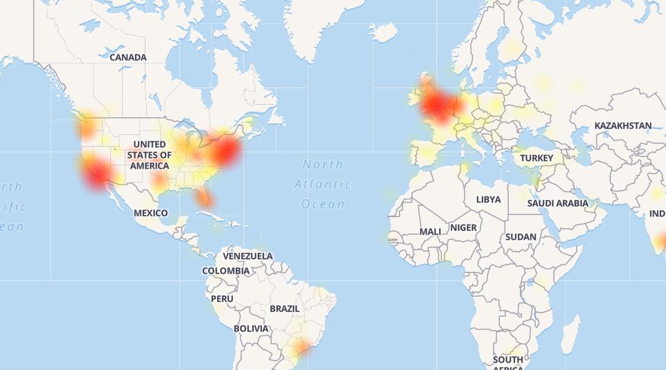 Caída en distintos países de Twitter. (DownDetector)