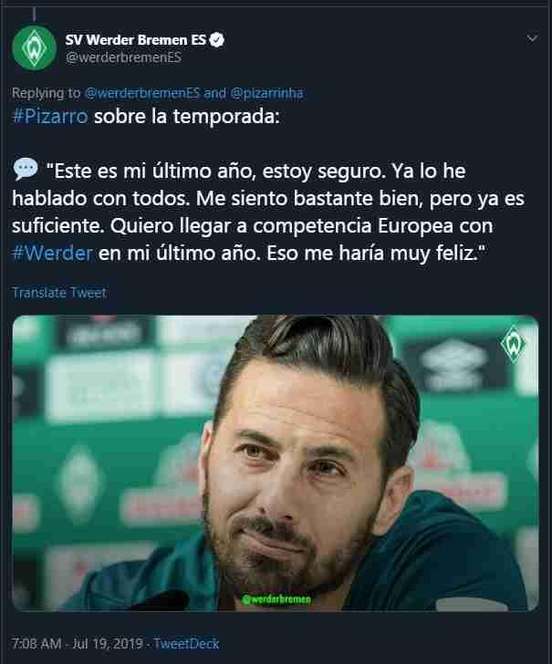 Claudio Pizarro anunció su retiro del fútbol. (Foto: Werder Bremen)