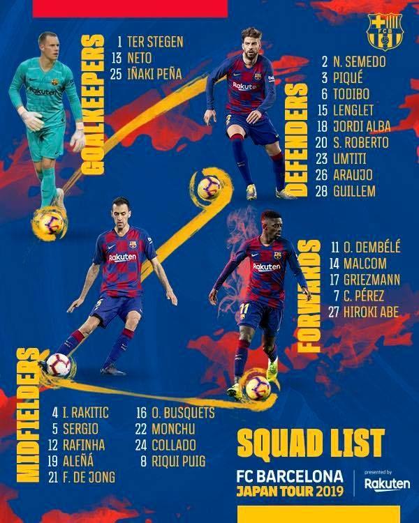 La relación de jugadores del Barcelona para la gira en Japón.