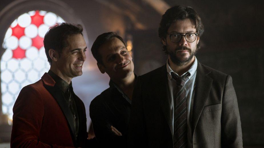 Palermo, Berlín y el Profesor en la tercera temporada de 'La casa de papel'. (Foto: Netflix)