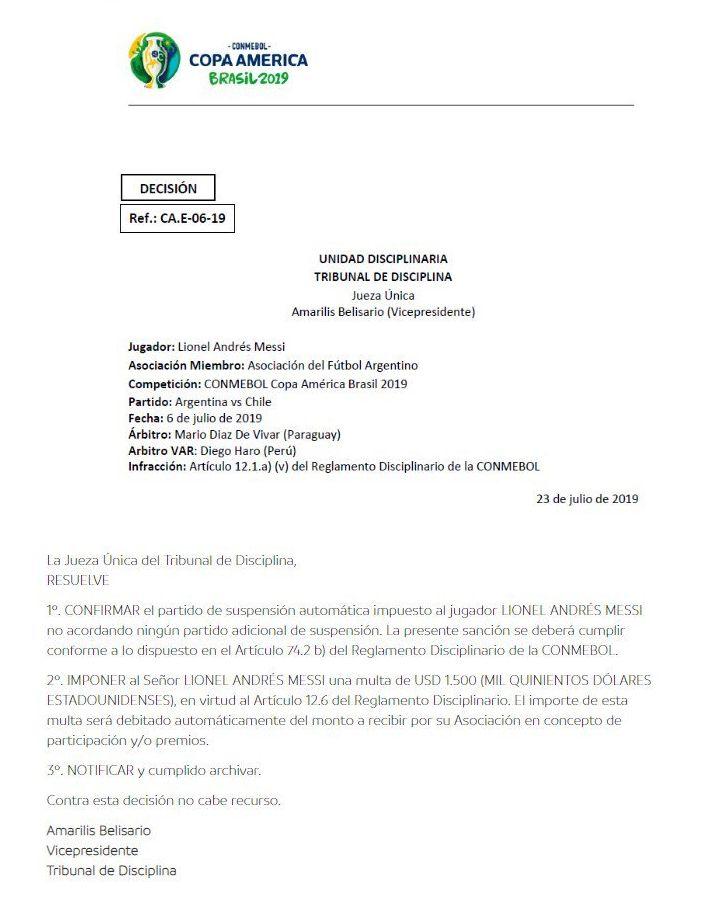 El documento sobre el castigo a Lionel Messi.