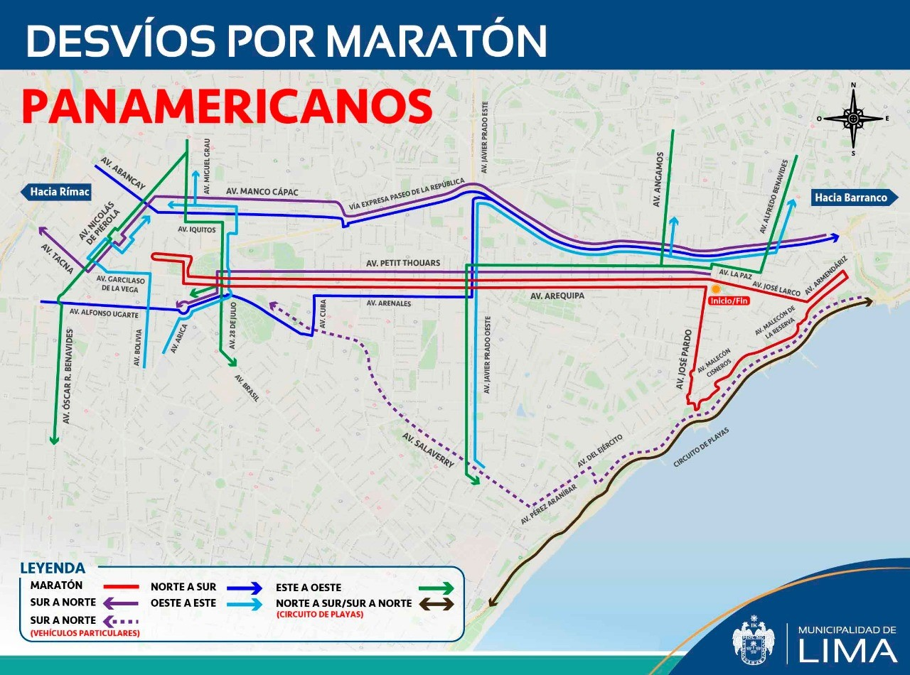 Plan de desvíos por maratones de Panamericanos 2019 (Foto: Municipalidad de Lima)