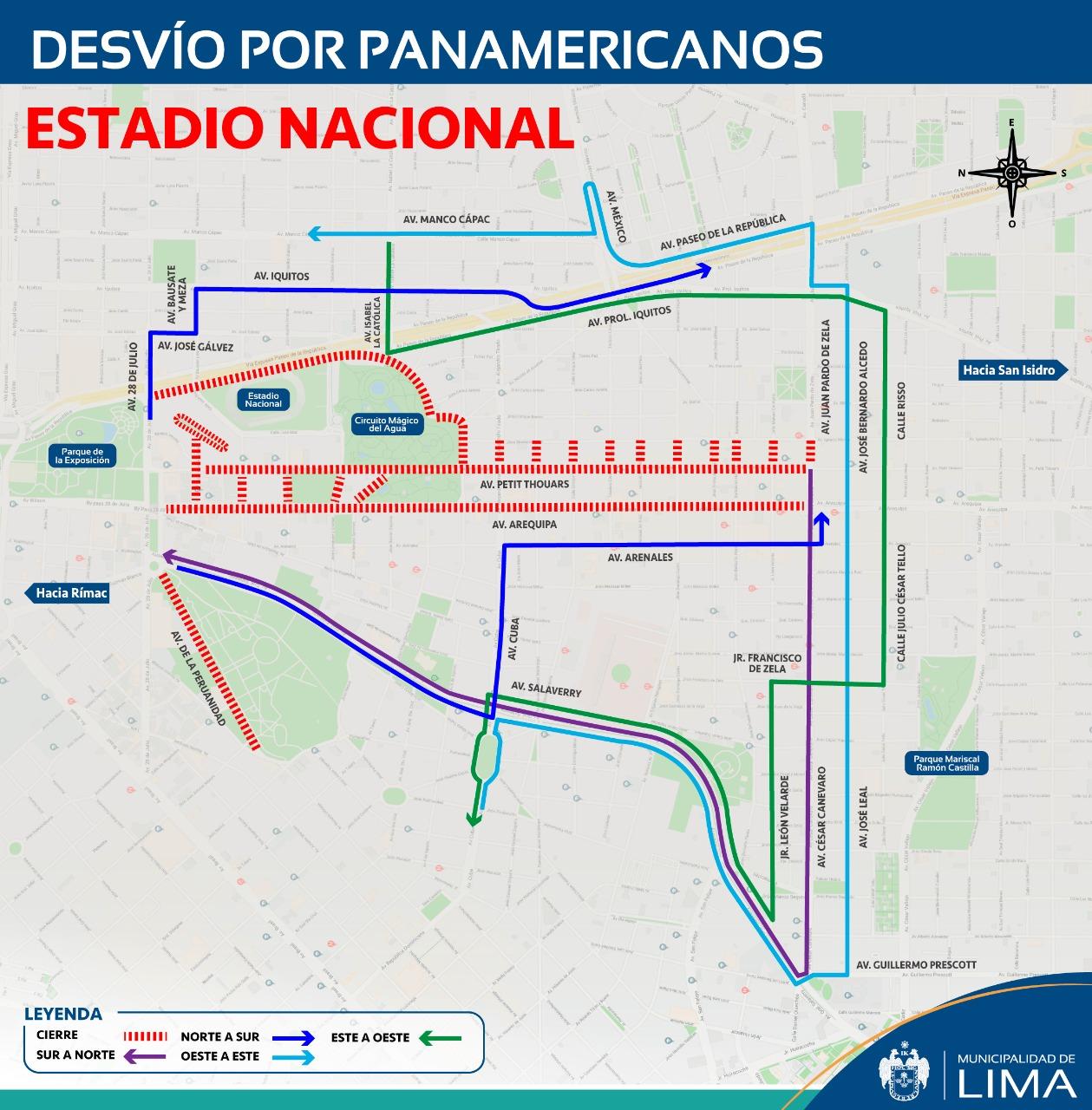 Estos son los desvíos en el Estadio Nacional que aplica de julio a agosto. (Foto: Municipalidad de Lima)