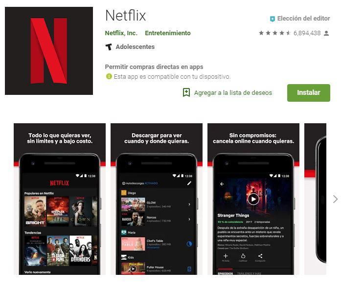 Con Netflix no podrás perderte tus series y películas favoritas. (Foto: Google Play)