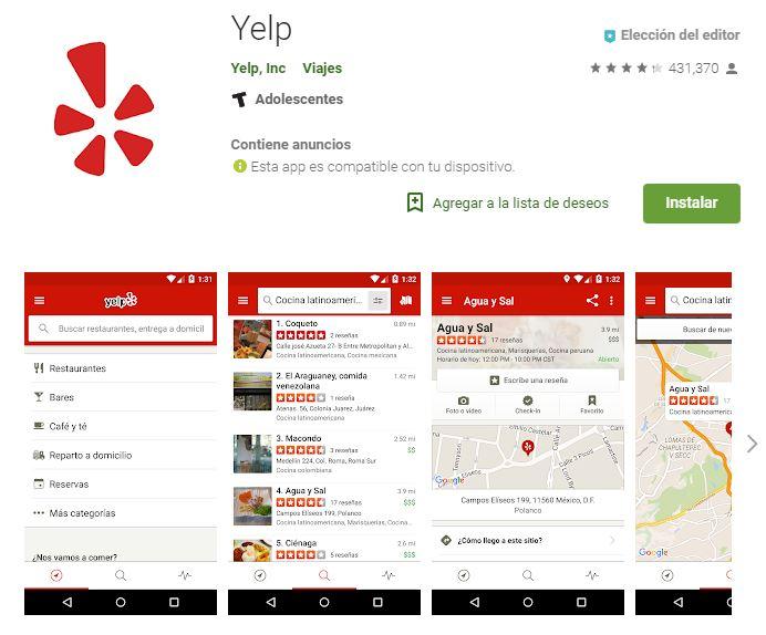 Yelp se convertirá en tu compañero perfecto de tu viaje. (Foto: Google Play)
