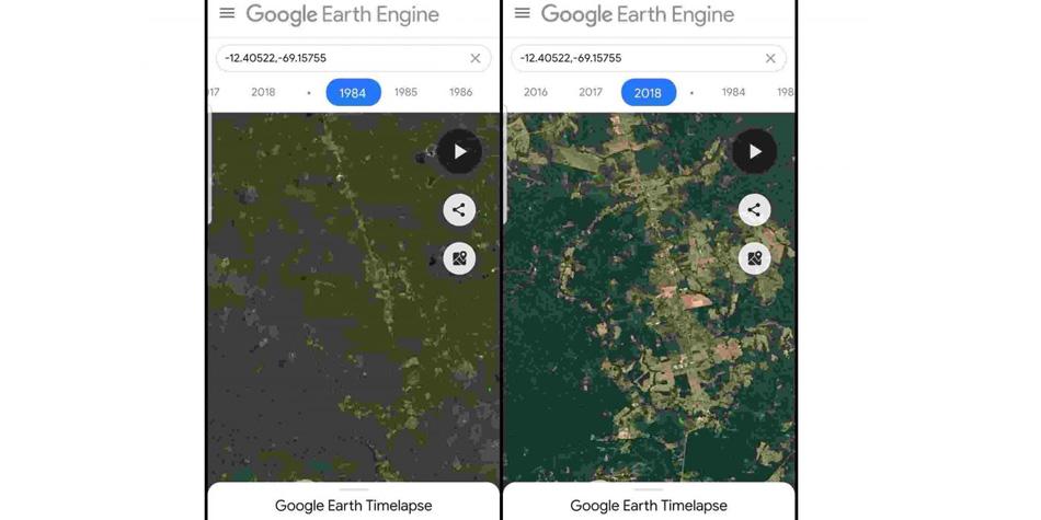 Así es como el cambio climático impactó sobre la selva de Brasil, según imágenes de Google Maps. (Foto: Google)