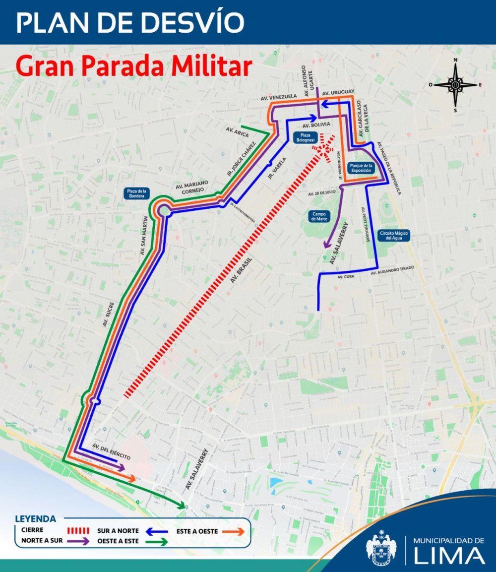 Municipalidad de Lima informó respecto al plan de desvío vehicular durante la Gran Parada Militar.