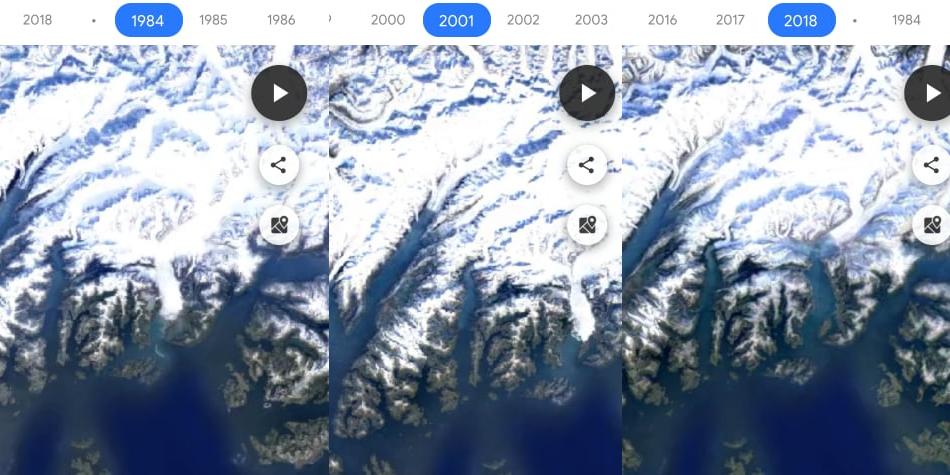 Así se ha derretido Alaska, según imágenes obtenidas por Google Maps. ¿Y en el Perú? (Foto: Google)