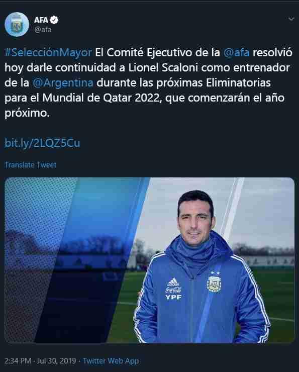 Tomado del Twitter de Argentina