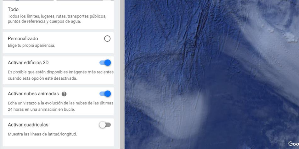 Así es como puedes activar las nubes animadas que simulan que el planeta gire en Google Maps. (Foto: Google)