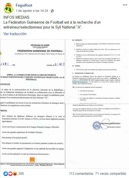 Guinea publica un anuncio en internet para buscar nuevo entrenador. (Facebook)