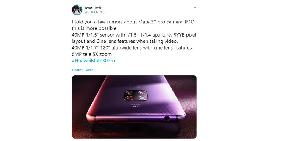 ¿Cómo serán las cámaras del Huawei Mate 30 Pro? Conoce todos los detalles del terminal que será lanzado en septiembre. (Foto: Twitter)