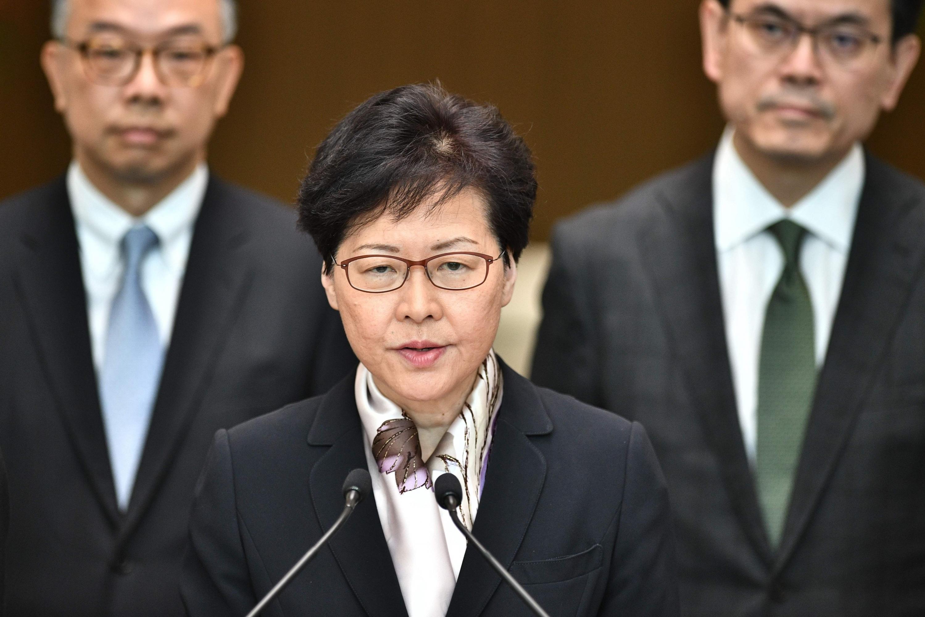 En la imagen, la jefa de gobierno de Hong Kong Carrie Lam. (Foto: AFP)
