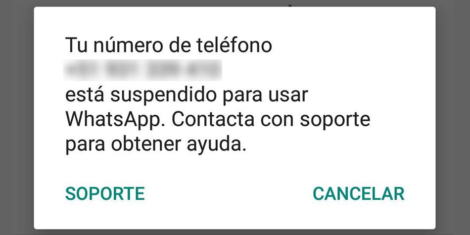 Este es el mensaje que te puede aparecer informándote que tu cuenta de WhatsApp ha sido suspendida. (Foto: Google)