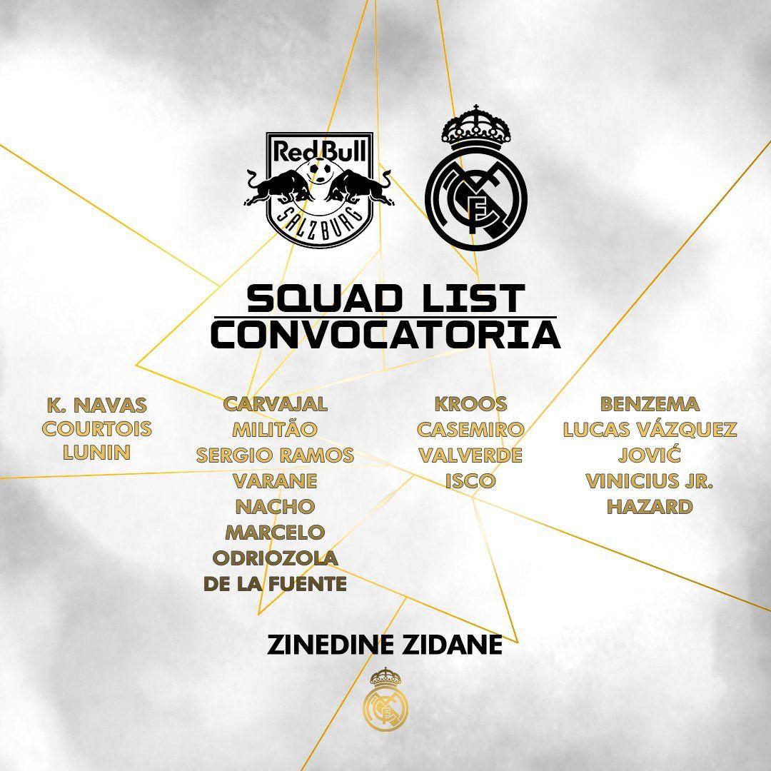 Lista de convocados de Real Madrid para amistoso ante Red Bull Salzburgo.