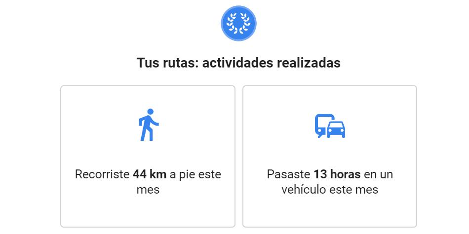 Google Maps te manda un informe mensual en el que se indica cuántos kilómetros has recorrido durante un mes. (Foto: Google)