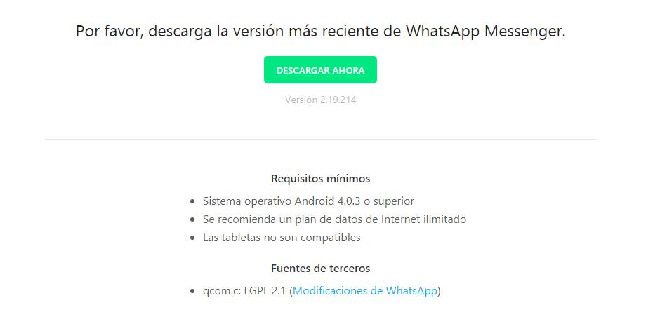 Para instalarlo en tu tablet, deberás acceder a la página principal de WhatsApp y descargar la APK actualizada. (Foto: WhatsApp)