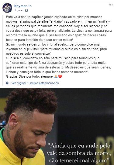 El mensaje de Neymar en Instagram.