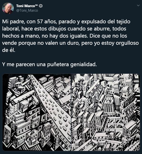 El hijo de Toni Marco Soriano publicó sus dibujos en las redes sociales. (Twitter)